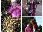 Herbst-Collage: 2 Mädchen im Laub