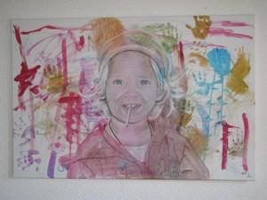 Geniale Idee: Das Kind gestaltet den Hintergrund für sein Portrait selbst