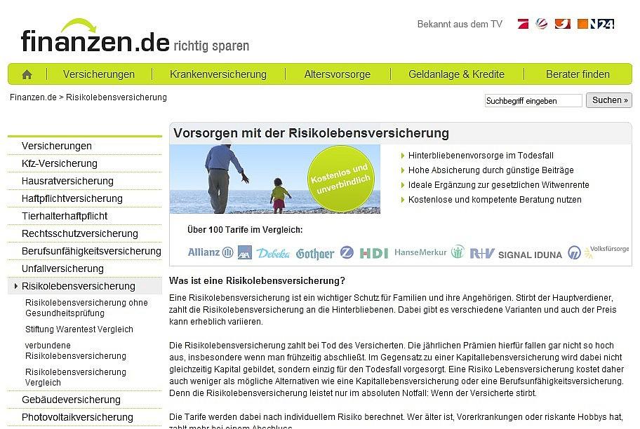 Beratungsportal Finanzen.de - Hier gibt es Infos zu Risikolebensversicherungen