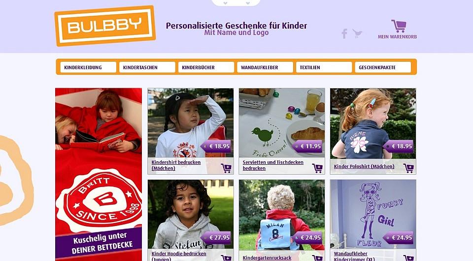 Ein schöner Shop für personalisierte Geschenke: Bulbby.de