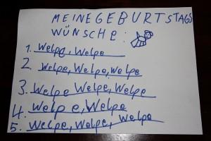 Geburtstags-Wunschzettel: Hund, Welpe, Welpe