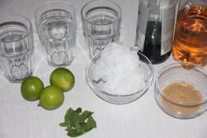 Zutaten für Virgin Mojito: Limetten, Zucker, Minze, Eis und Ginger Ale