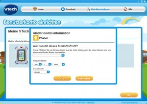 VTech Download-Manager: Kinderkonto für den Storio 2 anlegen
