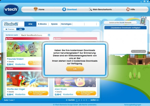 VTech Download-Manager: kostenlose Downloads für den Storio 2
