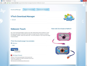 Kidizoom Touch: Download-Manager herunterladen. Screenshot: Land-und-Kind.de