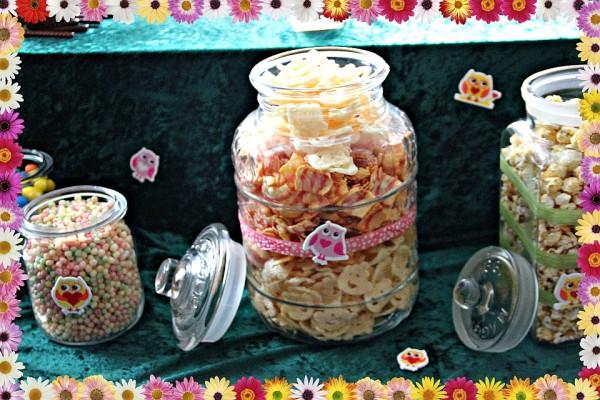 Süße Eulen dekorieren das Buffet