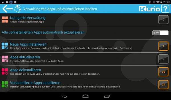 App-Verwaltung auf dem Kurio TAB (Screenhot: Land-und-Kind.de)