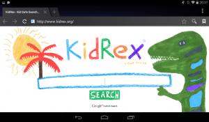 Kindgerechte Suchmaschine im Browser des Kurio TAB (Screenhot: Land-und-Kind.de)