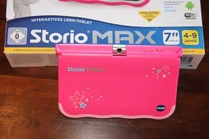 Storio MAX 7 von VTech: Packung und Tablet, Foto: Land-und-Kind.de